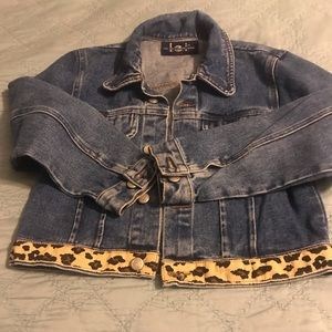 LEI girls  jean jacket with leopard band size 10